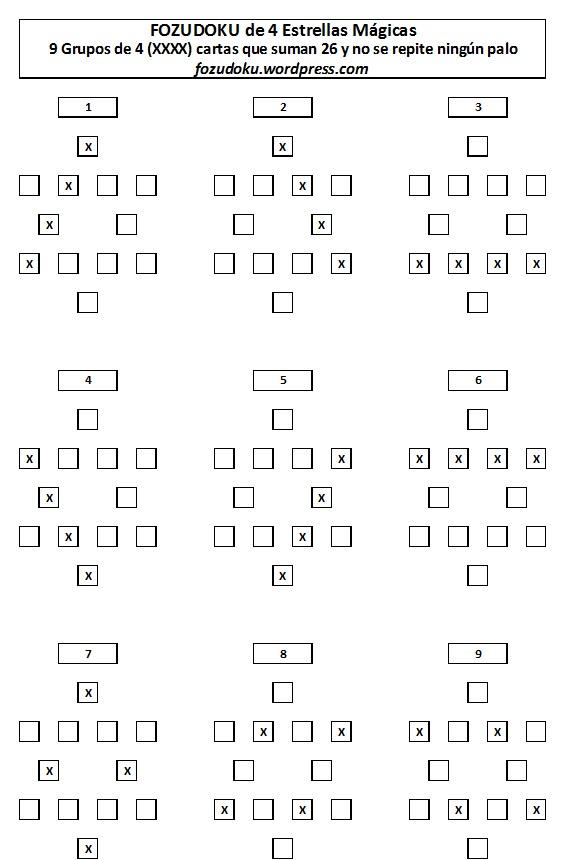 9 Grupos de 4 XXXX que suman 26 en las Estrellas Mágicas